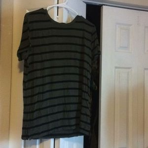 Forever 21 Green and Black Striped Tee